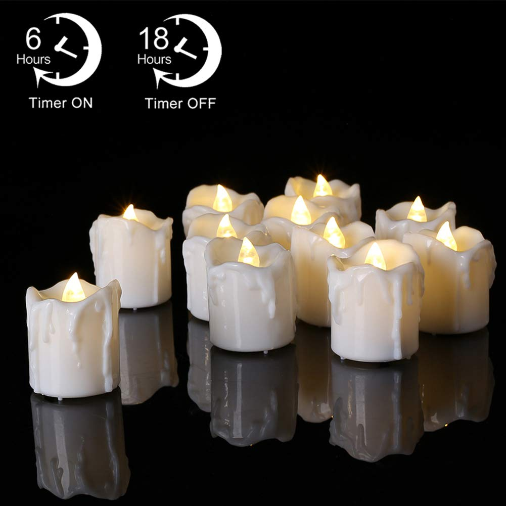 PChero 12pcs Battery Operated Warm White Timing LED Flameless Flickering Tea Lights Candles with Timer, 6Hours On Per 24Hours Cycle, Perfect for Birthday Wedding Home Decor - [1.7inch High Version] by PChero