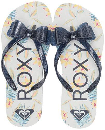 (Roxy Girls' RG Lulu Flip Flop Sandal, Navy Print, 5 M US Big Kid)