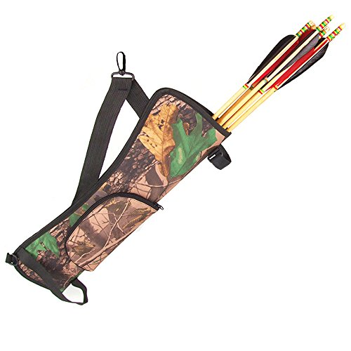 Portable Arrow Quiver Holder Archery Hunting Bow Bag Back Side Waist Hanging for Training Hunting Outdoor Camo With Buckle Zip Pocket