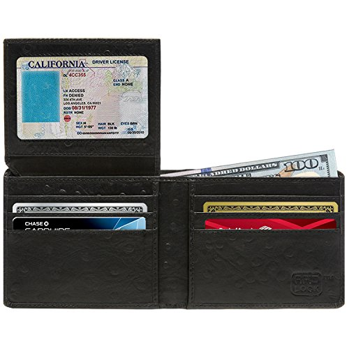 Bifold Leather Wallets For Men - RFID Blocking Mens Wallet With Flip Up ID (Ostrich Skin Wallet)