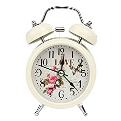 Hug Non-Ticking Vintage Classic Bedside/Table Analog Alarm Clock with Backlight, Battery Operated Travel Clock, Round Twin Bell Loud Alarm Clock for Kids (12.5x7.3x5CM/4.9x2.9x1.9, Beige)