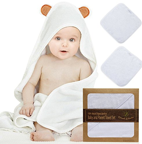 (Bambi Bamboo Baby Hooded Towel & 2 Washcloth Family Set, Bear ears| Cashmere Soft 4X more Absorbent| Antibacterial,Hypoallergenic | Great Shower Gift Baby)