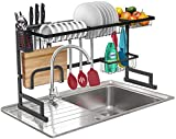 Sorbus Over-The-Sink Dish Drying Display Rack Stand, Draining Rack Sink Organizer with Utensil Holder Hooks for Kitchen Counter Storage Organizer for Dishes, Utensils, etc (Black)