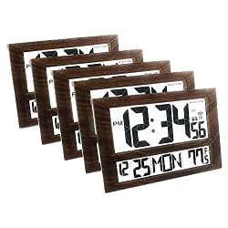 Marathon CL030025WD/5 Commercial Grade Jumbo Atomic Wall Clock with 6 Time Zones, Indoor Temperature & Date, Color-Wood. (Pack of 5)
