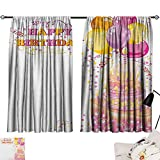 Beihai1Sun Kids Birthday décor Darkening Curtains Celebration Girl Themed Party Cake Candles Balloons Hearts Image Print Curtain for Kids Room Pink and Orange W96 x L72