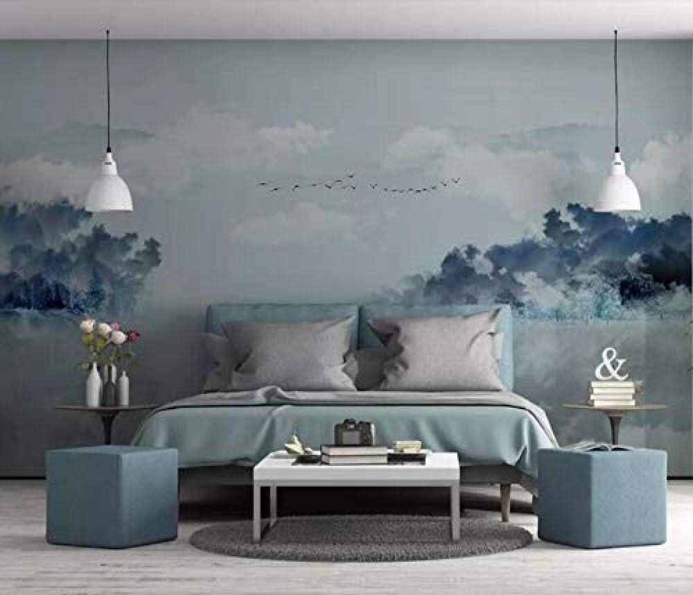 Papier Peint Intiss/é Tapisserie Murales Panoramique 3D Papier Peint Abstrait Encre For/êt Cygne Paysage Fond Chambre D/écoration Murale Papier Peint