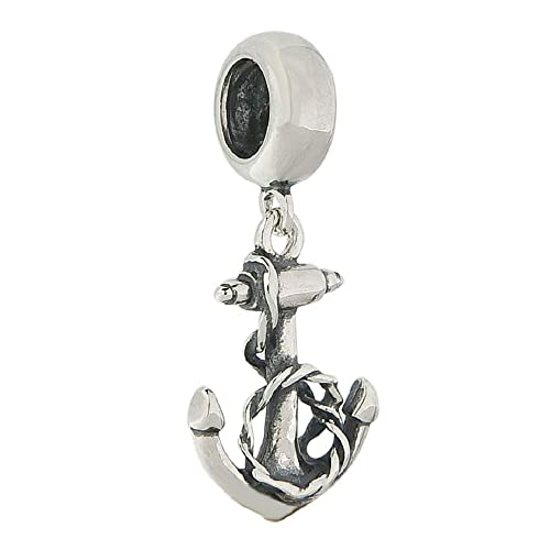 NAUTICAL SHIP ANCHOR w ROPE DANGLE  925 Sterling Silver European Charm Bead