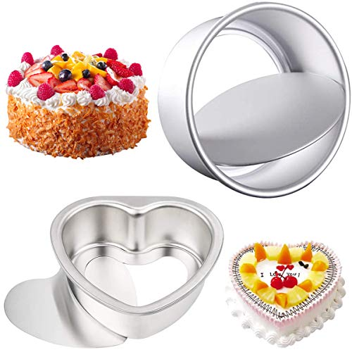 Ronde Cake Tin Set Met Losse Basis, 2 Pack 6-Inch Niet-Stick Bakblikken Diep Aluminium Ronde Taartpan 5-inch Hartvormige…