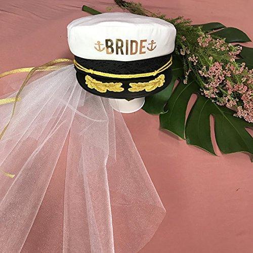 80d40edab2057 Amazon.com  Brides CAPTAIN HAT Wedding Veil BEACH BACHELORETTE Hat ...