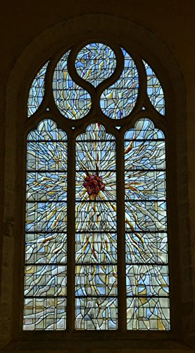 Wall Art Impressions Quality Prints - Laminated 24x43 Vibrant Durable Photo Poster - Window Glass Stained Glass Abbey Symmetry Faith Religion Abbaye Du Relec Brittany France
