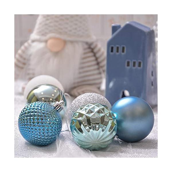 Valery Madelyn Palle di Natale 50 Pezzi 6 cm Palline di Natale, Essenziali Blu e Argento di Base Infrangibile Ornamenti di Palla di Natale Decorazione per la Decorazione Dell'Albero di Natale 5 spesavip