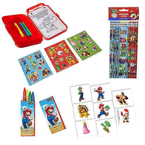 Super Mario Brothers Birthday Party Favor (Sticker Activity Kit, Pencils, Crayons, and Temporary Tattoos) Party Avenue Bundle-Pack ()