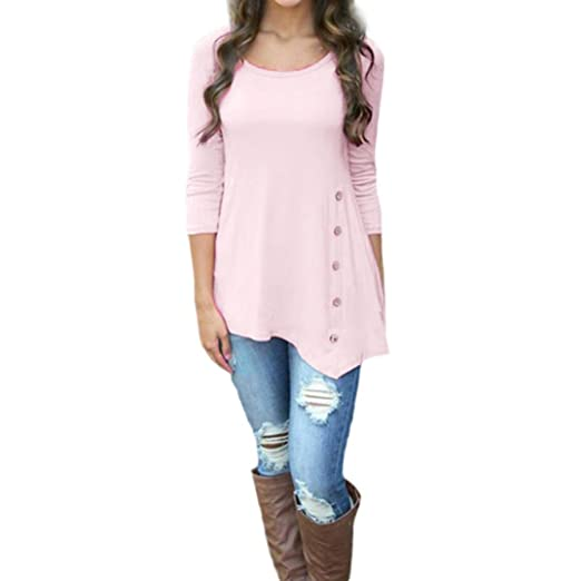 4036ee577 Women Tops, Gillberry Women Plus Size Long Sleeve Loose Button Blouse Solid  Round Neck Tunic