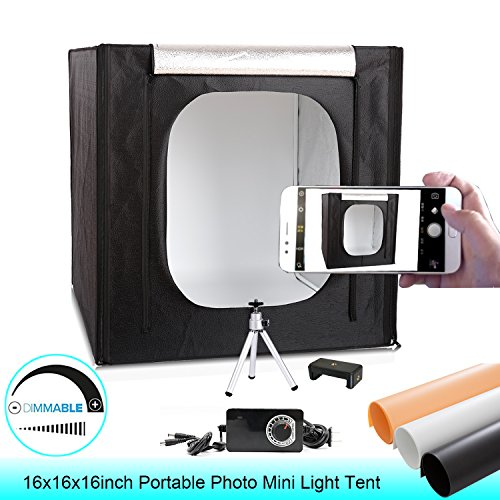 Mini Dimmable Lightbox for Product Photography 16''x16''x16'' Portable LED Cube Photo Studio Shooting Tents with Tripod,Phone Clip,3 Colors PVC Backgrounds by Konseen