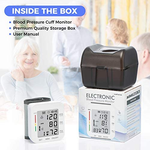 MMIZOO Blood Pressure Monitor Large LCD Display & Adjustable Wrist Cuff 5.31-7.68 inch Automatic 90x2 Reading Memory for Home Use (CK-102S)