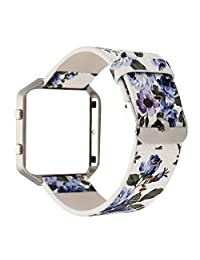 TCSHOW For Fitbit Blaze Band with Metal Frame , Soft PU Leather Pastoral/Rural Floral Style Replacement Strap Wrist Band with Silver Metal Adapter for Fitbit Blaze