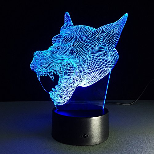 - 3D Illusion Animal Head LED Desk Table Night Light Lamp 7 Color Touch Lamp Kiddie Kids Children Family Holiday Gift Home Office Childrenroom Theme Decoration (7 color touching)
