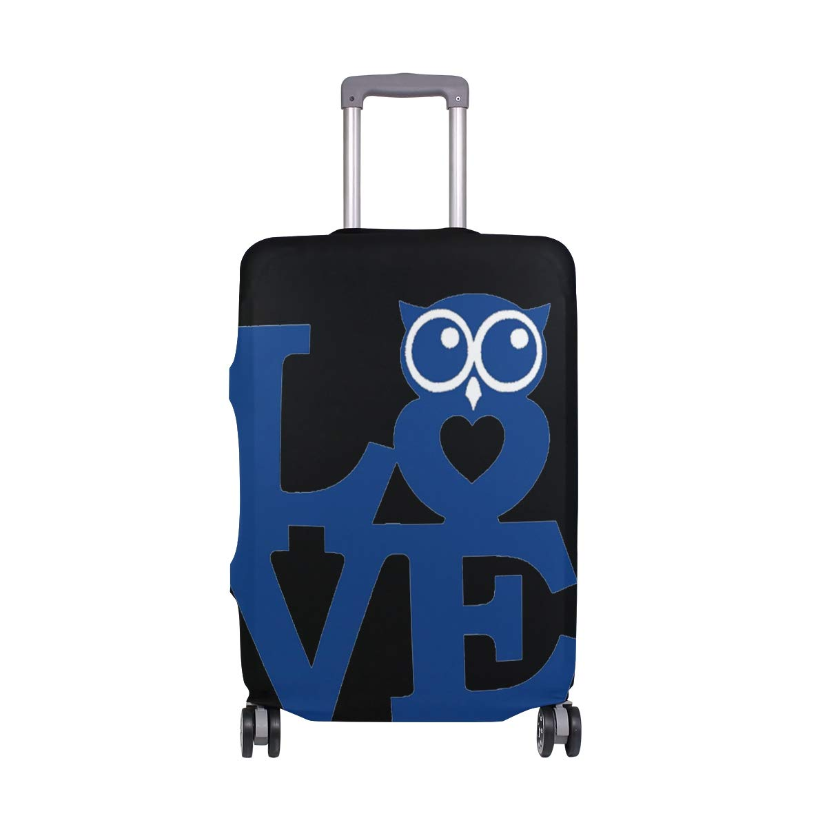 Travel Luggage Cover DIY Prints Protector Suitcase Baggage Fit 18-32 inch - Pet Cartoon Owl Love Blue
