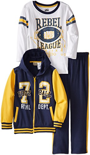 Little Rebels Little Boys' 3 Piece Football Fleece Hoodie Set, Navy Blue, ()