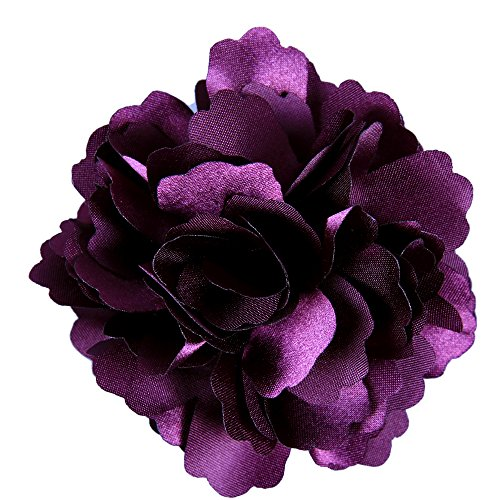 (Anleolife Fabric Artificial Velvet Rose Flower Hair Clips/Wedding Corsage Flowers Party Woman Flower Brooch Hair Fascinator 6pcs/lot (deep purple))