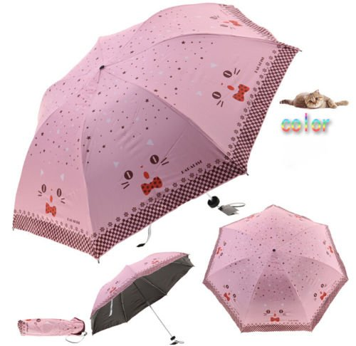 AA Cute Cartoon Ourdoor Windproof Mini Sun Rain Compact Travel Floding Umbrella