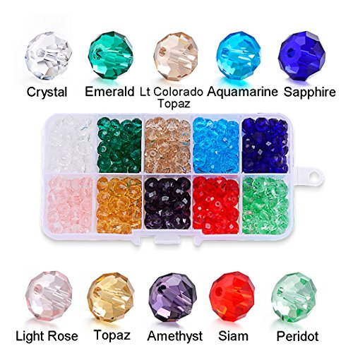 Romance Jewelry 150Pcs 10mm Briolette Faceted Crystal Glass Beads for Jewelry Making Findings Assorted Colors with Bead (Mm Briolettes Crystal)