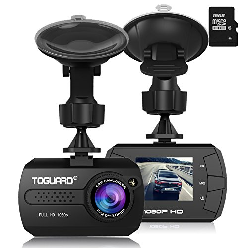 """Dash Cam - TOGUARD in Dash Camera for Cars HD 1080P Wide Angle 1.5"""" LCD with G-Sensor Loop Recording Motion Detection with a 16G sd Card"""