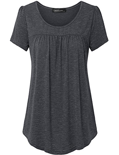 Vinmatto Women's Scoop Neck Pleated Blouse Top Tunic Shirt(M,Black)