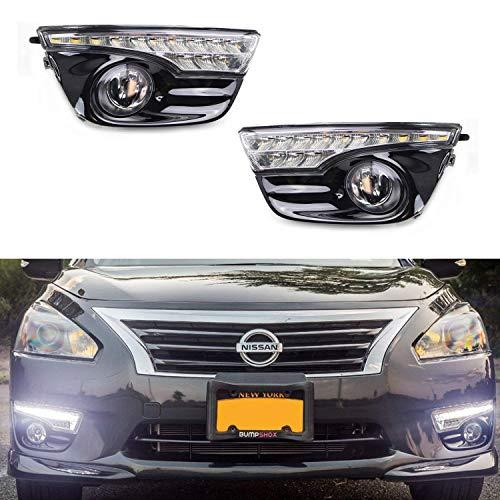 iJDMTOY Switchback LED DRL & Clear Fog Lamp Kit For 2013-15 Nissan Altima Sedan, Includes (2) White/Amber LED Daytime Running Lights, Pair of Yellow Lens Halogen Fog Lights, Bezels & - Amber Fog Light Kit