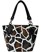 FASH Giraffe Print Faux Leather Tote Shoulder Handbag,Black,One Size