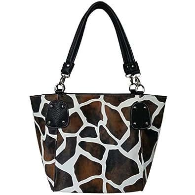 FASH Giraffe Print Faux Leather Tote Shoulder Handbag,Black,One Size