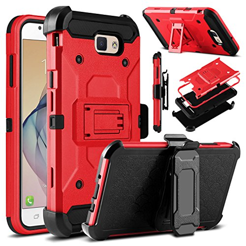 Galaxy J7 V Case, Galaxy J7 Perx Case, Galaxy J7 Sky Pro Case, Venoro Heavy Duty Shockproof Rugged Protection Case Cover with Belt Swivel Clip and Kickstand for Samsung Galaxy Halo / J7 2017 (Red)