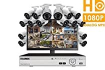 Lorex HD 1080p surveillance camera system with monitor and 16 wide angle security cameras