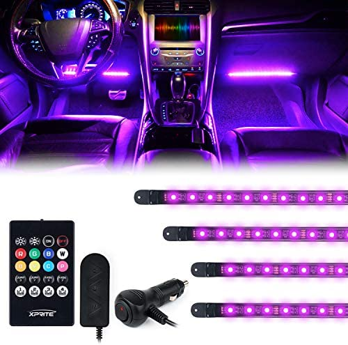 [Upgraded] Xprite RGB LED Car Interior Light Strips with Wireless Remote Silicone Sealed Design, Under Dash Footwell Lights Kit w/Cigarette Plug, Universal for Vehicle Internal, RV, SUV, Trucks-4 PCS