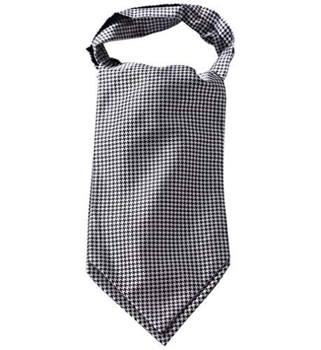 - HISDERN Men's Plaid Houndstooth Jacquard Woven Self Cravat Tie Ascot Black/White