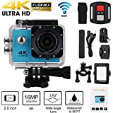 SUKEQ Action Camera, Waterproof 4K Wifi 1080P Full HD Sport Action Camera Remote Control Camera DVR Cam Camcorder