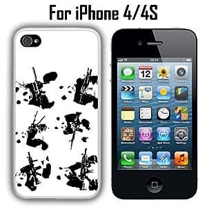 Hipster Panda Guns Custom Case/ Cover/Skin *NEW* Case for Apple iPhone 4/4S - White - Plastic Case (Ships from CA) Custom Protective Case , Design Case-ATT Verizon T-mobile Sprint ,Friendly Packaging - Slim Case by icecream design