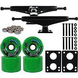 Longboard Skateboard Trucks Combo Set 76mm Bigfoot Crusher Wheels with Black Trucks, Bearings, and Hardware Package (76mm Green Wheels, 6.0 (8.63'') Black Trucks)