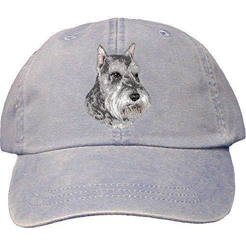 Schnauzer Caps (Cherrybrook Dog Breed Embroidered Adams Cotton Twill Caps - Periwinkle - Schnauzer)