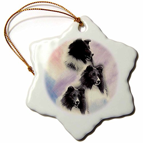 3drose Black Sheltie Snowflake Porcelain Ornament, (Sheltie Porcelain)