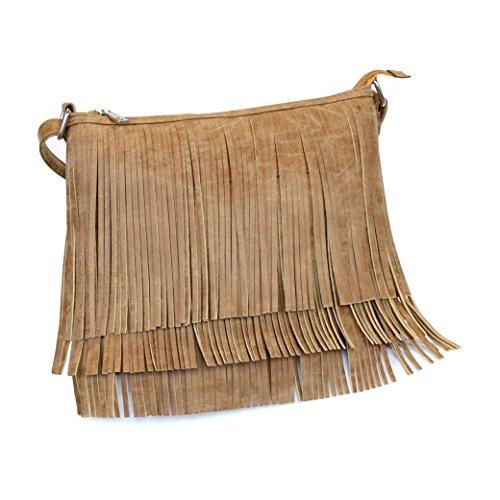 Tan Faux Suede Boho Fringe Zipper Top Crossbody Bag W/ Concealed Carry Pocket