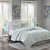 Comfort Spaces - Kashmir Mini Quilt Set - 3 Piece - Paisley Pattern - Blue, Grey, King/California King Size, includes 1 Quilt, 2 Shams