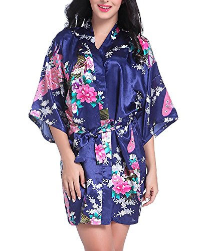 Admireme Women's Bridesmaid Robes Short Peacock Blossoms Kimono Robe Dressing Gown Floral Robes