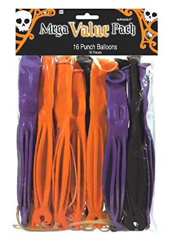 Amscan Creepy Halloween Ghoulish Punch Balloon (16 Piece), Multicolor, 12