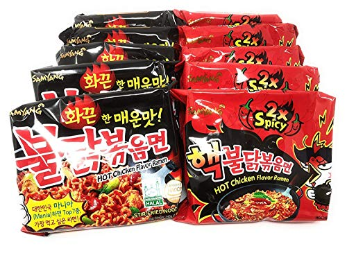 Fusion Select Samyang Top Two Spicy Chicken Hot Ramen noodle Buldak Variety 10 pack (5 each:Hek Nuclear,Original)