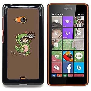 For Nokia Lumia 540 Case , Dinosaurio Monster Madre de los Niños - Diseño Patrón Teléfono Caso Cubierta Case Bumper Duro Protección Case Cover Funda