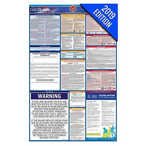 (2019 Colorado Labor Law Poster – State, Federal, OSHA Compliant – Laminated Mandatory All in One Poster)