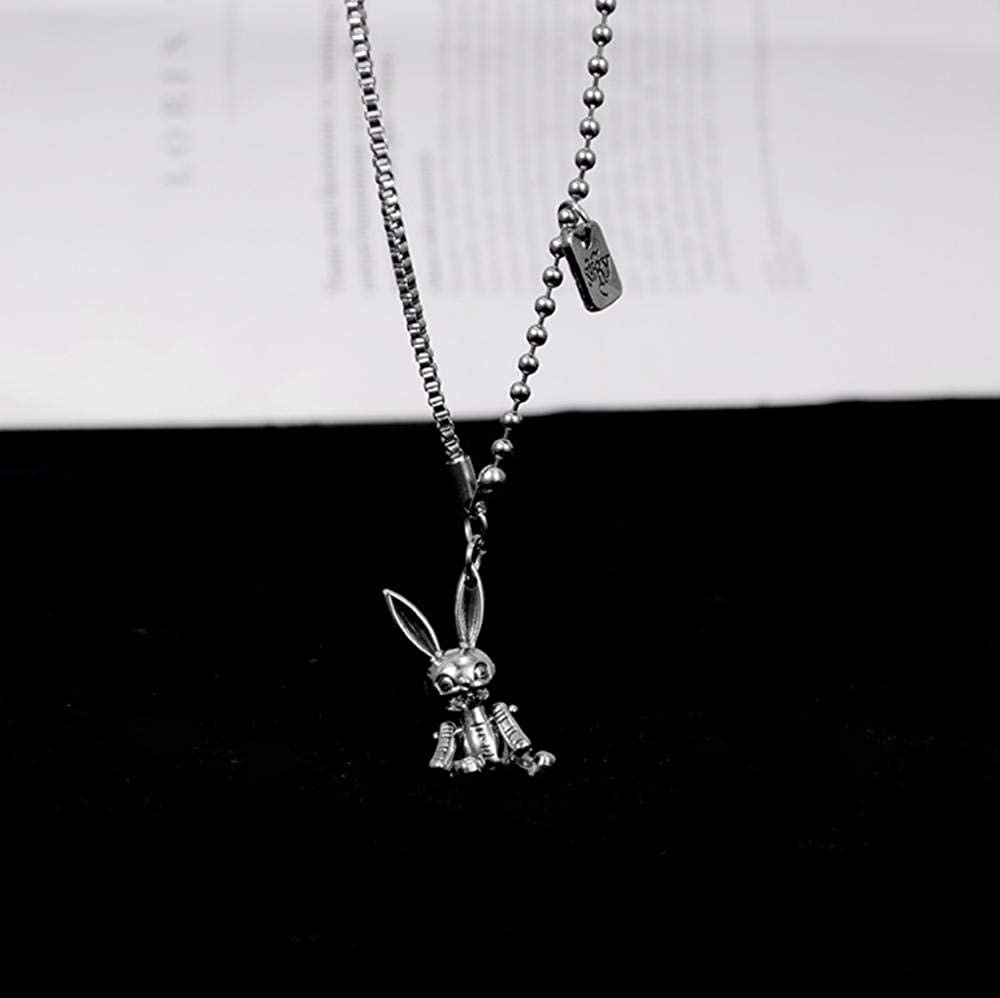 WANGXJ Limbs Movable Rabbit Necklace Female Tide Hip-Hop Japanese and Korean Bunny Pendant Clavicle Chain