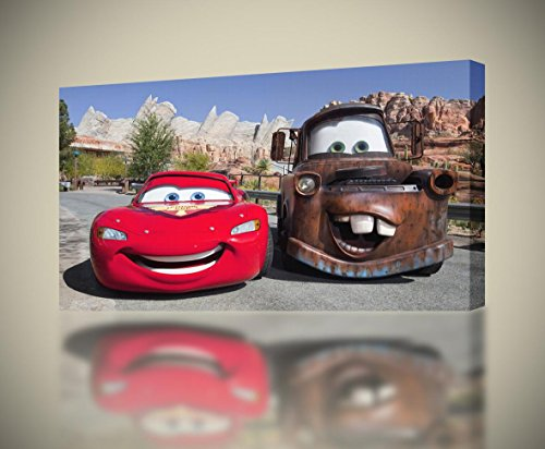 Lightning Mcqueen Tow Mater Cars Movie Disney CANVAS PRINT Giclee Art CA420, Small (Cars Disney Movie Poster)