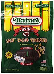 Nathan's Famous Hot Dog Treats, All Beef, 4-Ounce Bags (Pack of 12)